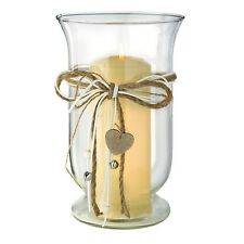 New 25cm Classic Glass Hurricane With Heart Attachment Candle Holder