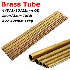 4/5/8/10/15mm OD tubo de latón redondo 1mm/2mm pared 200/300/400/500mm largo