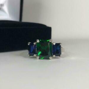 9Ct Emerald&Blue Sapphire Octagon SterlingSilver Handmade Ring For US6.5