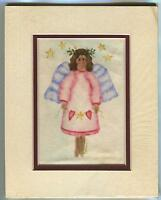 GENUINE THEOREM FOLK ART CHRISTMAS PINK ANGEL STARS VELVET OIL OOAK ART PAINTING