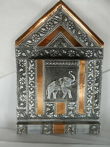 Key & Letter Organizer, Copper, Embossed Silver Tone Metal, Elephant Made India