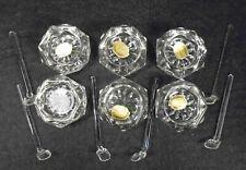 6 Vintage Bohemia Glass Salt Dip Caviar Cellars with Spoons  Czechoslovakia
