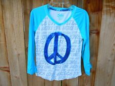 JUSTICE Girls SHIRT size 12 Teal green PEACE sign blue sequins long sleeve