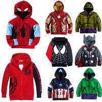 Kids Boys Superhero Long Sleeve Tops Hoodie Hooded Sweatshirt Winter Jacket Coat