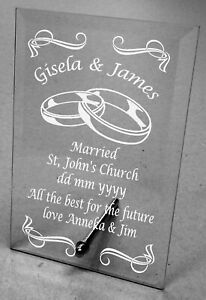 Plain / Engraved Personalised Glass Plaque Wedding Gift Christening Thank you