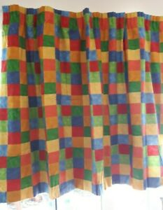 Pair Multicoloured bright check blackout lined children's curtains tape heading