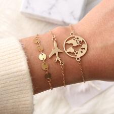 3Pcs/Set Women Boho Plane Map Bangle Bracelet Golden Chain Party Charm Jewelry