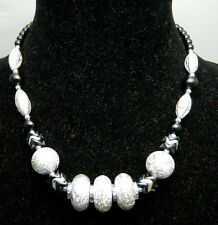 Silver Foil Beaded Necklace Choker Vtg 1980's Styled Black and