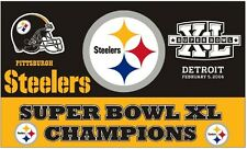 Pittsburgh Steelers Flag - Rare 3x5' Super Bowl Xl Champions with Huge Logo