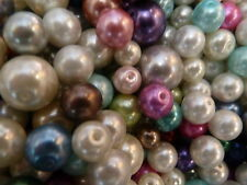 150 Mixed Sizes Glass Pearl Beads 12mm Largest -8mm Smallest +30 6mm Free
