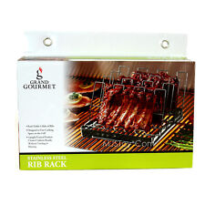 NEW Grand Gourmet Stainless Steel Rib Rack for Grill Uniform Result No More Burn