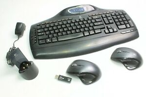Logitech MX5500 Revolution Wireless Keyboard Mouse Combo Black Charger Docking