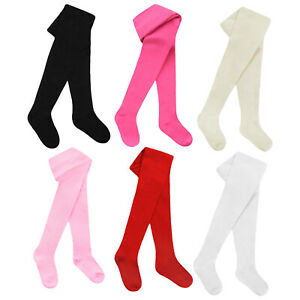 Baby Girls Kids Tights Cotton Rich Plain Knitted Winter Warm Thick