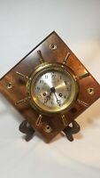 Vintage Salem Ships Bell 8 Day Jeweled Key Wind Clock Mounted
