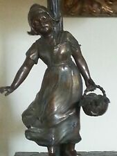 Vintage Pair Figural peasant girl Table Lamps spelter germany capiz shell shades