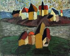 DOMINIC FELS (fl.1920-1984) Oil Painting ABSTRACT SURREALIST BUILDINGS c1950