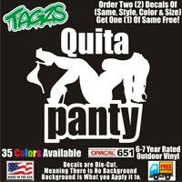 BBW Quita Panty Dropper Funny DieCut Vinyl Window Decal Sticker Car Truck SUV