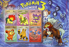Liberia 2001 MNH Pokemon 3 The Movie Spell of Unown 6v M/S I Aipom Elekid Stamps