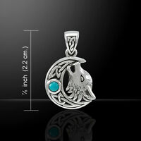Celtic Knot Wolf on Crescent Moon .925 Sterling Silver Pendant Peter Stone