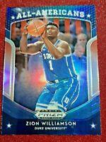 ZION WILLIAMSON #100 2019-20 Draft Picks SILVER PRIZM ALL-AMERICANS RC PELICANS
