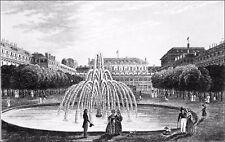 PARIS : JARDIN du PALAIS ROYAL (Palais-Cardinal, Richelieu) - Gravure du 19e s.