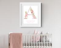 Personalised Rabbit Letter. Baby girl name print. Christening gift Nursery print