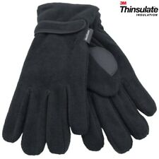 Mens Polar Fleece Gloves 3M Thinsulate Lined Thermal Winter Adult With Palm Grip