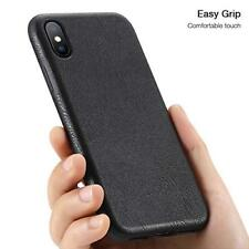 iPhone XS Max Case PU Leather Shockproof Cover Slim Fit Wireless Charging Black