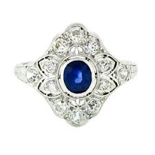 Antique Art Deco Platinum 1.80ctw GIA Oval Sapphire Diamond Etched Filigree Ring