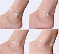 925er Sterling Silber Fußketten Armband  Fusskettchen 20-23 cm Damen