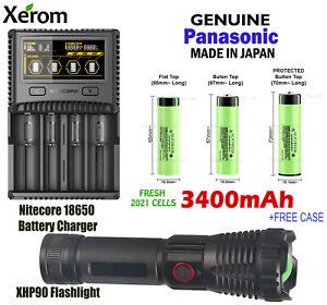 Flashlight + Panasonic 3400mAh Lithium Li-Ion Rechargeable Battery + Charger