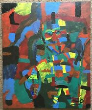 Vtg Abstract Oil Painting Wall Hanging Mid Century Modern Retro Art 50s 60s