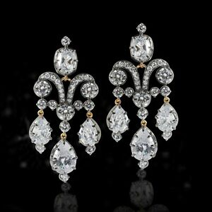 Vintage Style Pear drop Cushion 925 Sterling Silver Highend Chandeliers Earrings