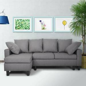 3 Seater Corner Sofa Storage Shaped Modern Luxury Design in Grey Colour