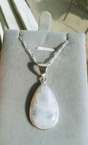 925 Sterling Silver & Genuine Moonstone Pendant/Necklace-Teardrop-New