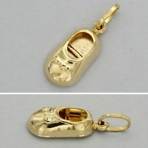 18ct 18 ct 18k Solid Real Yellow GOLD Small Baby Shoe Charm Pendant Mum Child