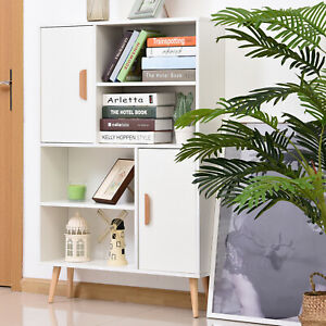 HOMCOM Free Standing Bookcase Shelves Unit Storage Cabinet w/ Two Doors White