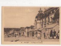 Fecamp La Plage & Casino Vintage Postcard France 522a