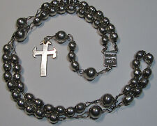 "† PRIMITIVE HEAVY VINTAGE STERLING FROM MEXICO ROSARY ROSARIO 21"" 35.80 GRAMS †"