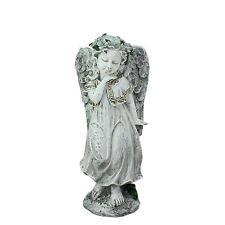 "10.25"" Heavenly Gardens Distressed Gray Angel Girl Outdoor Patio Statue"