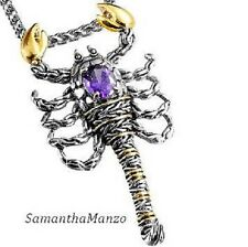 Amethyst Cz Cubic Zirconia Two Tone Silver Gold SCORPION Pendant Necklace Chain