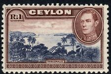 CEYLON-1944 1r Blue-Violet & Chocolate Watermark Upright Sg 395a-Unmounted mint