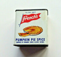 Vintage French's Pumpkin Pie Spice metal tin can spice collectible advertising!