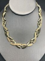 "Vintage 1950's Intricate X Y Gold Open Link 16"" Necklace With Hook Clasp"