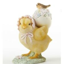 Easter Chick Carrying a Floral Egg and a Bird on Back Figurine New