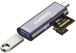 KiWiBiRD USB-C SD Micro SD Memory Card Reader, Type-C to USB 3.0 Female Adapter