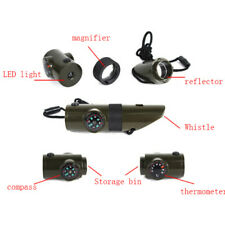 Military Emergency Survival Whistle Kit Compass Led Light Thermomet Toolswhi RAC
