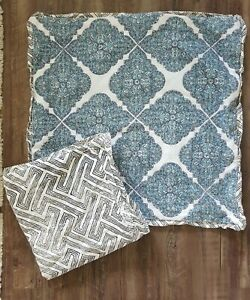 """Pottery Barn Throw Pillow Cases Covers  100% Cotton Set 2 Blue Black Teal 24x24"""""""