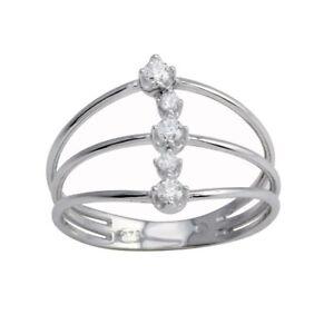 3 LINE OPEN DESIGN RING W/ LAB DIAMONDS / 925 STERLING SILVER /SZ 5-9