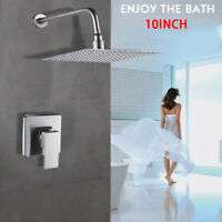 """Brushed Nickel 10"""" Bathroom Shower Faucet Set With Valve Shower Head Wall Mount"""